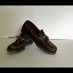 L.L. Dark Brown Leather Boat Moccasin Shoes